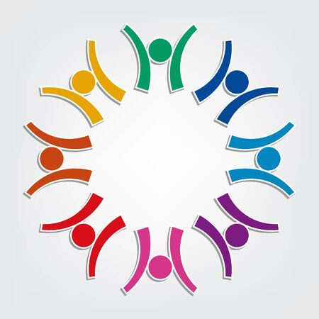 Group of eight people logo in a circle. Persons teamwork holding