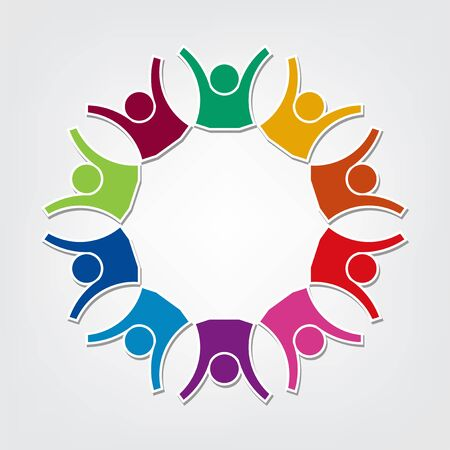 Group of ten people logo in a circle. Persons teamwork holding