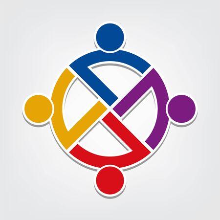 Group people handshake in a circle, Teamwork icon.vector illustrator Illustration