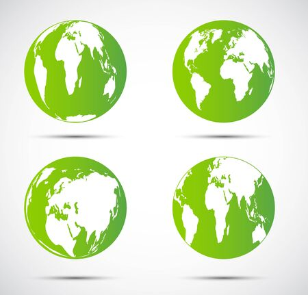 Green globe Beautiful shadow on black background.vector illustration