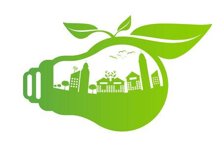 Ecology concept,the world is in the energy saving light bulb green,vector illustration 向量圖像