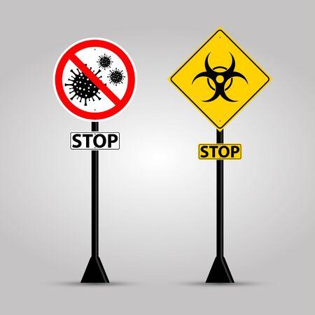 Stop warning sign coronavirus covid 19 Illustration