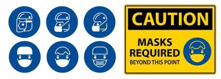 Caution Symbol Masks Required Beyond This Point Sign Vektorgrafik