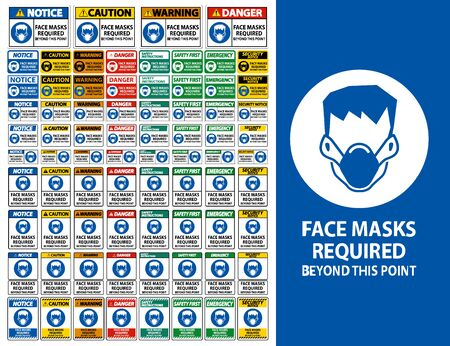 Face Masks Required Beyond This Point Sign Isolate On White Background