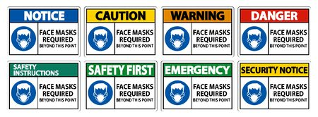 Face Masks Required Beyond This Point Sign Isolate On White Background Illusztráció