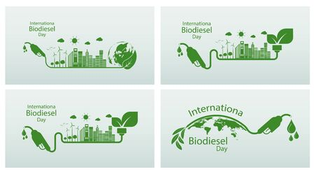 International Biodiesel Day.10 August.for Ecology and Environmental Help The World With Eco-Friendly Ideas,Vector Illustration Ilustración de vector