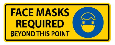 Face Masks Required Beyond This Point Sign Isolate On White Background,Vector Illustration Ilustración de vector