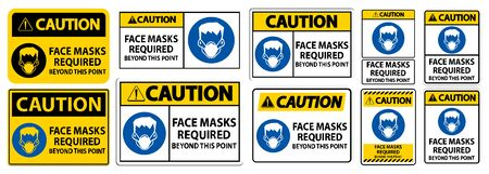 Caution Face Masks Required Beyond This Point Sign Isolate On White Background,Vector Illustration Illusztráció