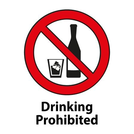 Drinking prohibited,No alcohol sign isolated on white background