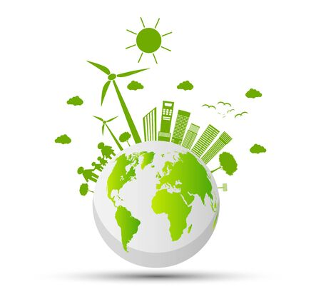 Ecology and Environmental Concept,Earth Symbol With Green Leaves Around Cities Help The World With Eco-Friendly Ideas