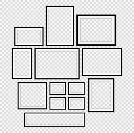Set Realistic black picture frame on transparent background.vector illustrator