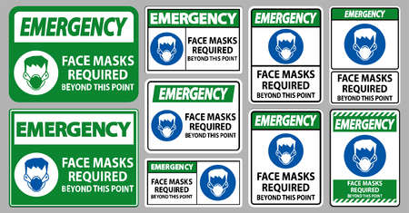Emergency Face Masks Required Beyond This Point Sign Isolate On White Background