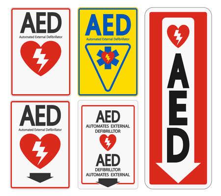 Set Symbol AED Sign label on white background Illustration