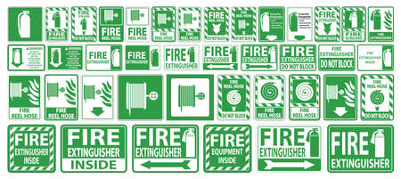 Set label Fire extinguisher Sign on white background