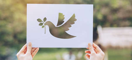 Show Cut paper with the of pigeon template of peace concept,International Peace Day