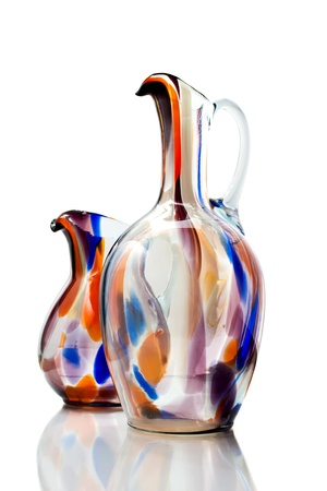 A Couple Of Isolated Colored Glass Vases On White Background Stock