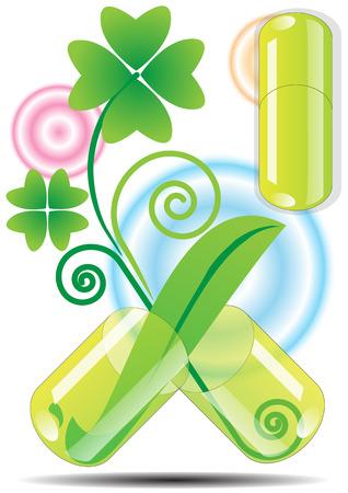 herbal medicine: herbal medicine capsule vector background