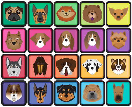cartoon characters: breed dog cartoon button vector