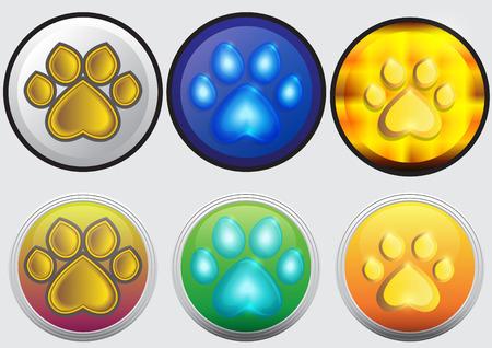 button set: concept footprint button set vector