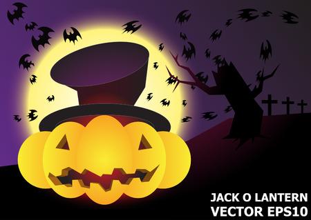 night background: jack Olantern halloween night background vector Illustration