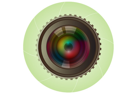 eye lens: camera lens photography background vector Illustration