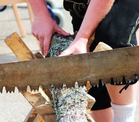 sawing: Sawing a tree trunk Stock Photo
