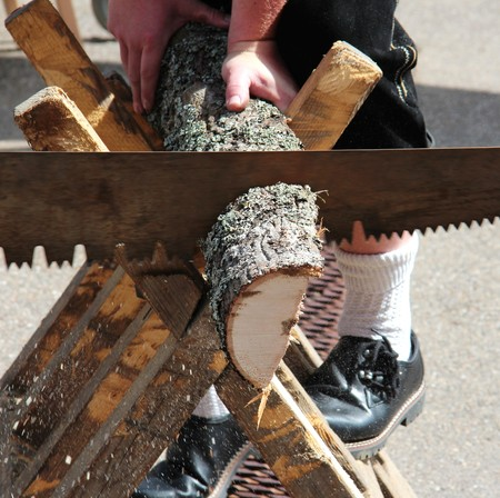 sawhorse: Sawing a tree trunk Stock Photo