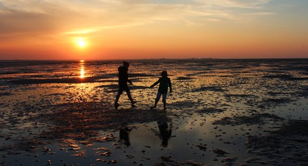hiking in the north sea at low tide