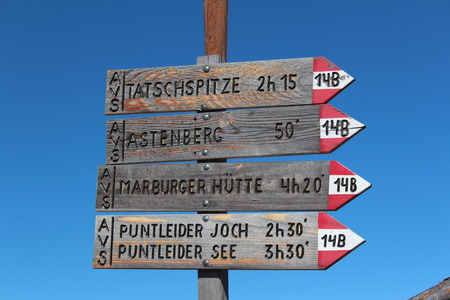 time specification: signpost Stock Photo