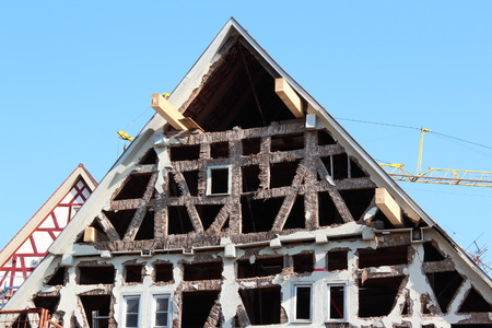 heritage protection: old half-timbered facade is renewed Stock Photo