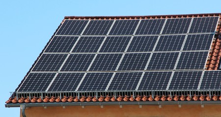 photovoltaic panel: House with Photovoltaic Panel Stock Photo