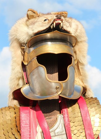 Roman Helmet with fur of a wolf photo