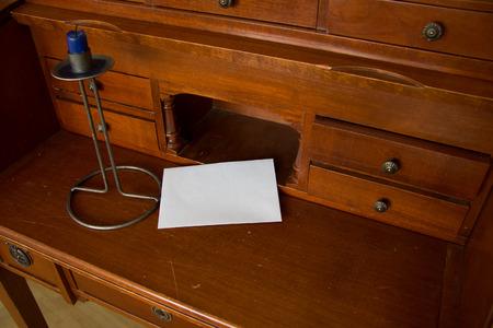 secretary desk: Old secretary desk with letter