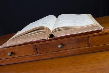 old desk: Old secretary desk with old book