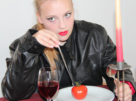 young pubescent girl in restaurant