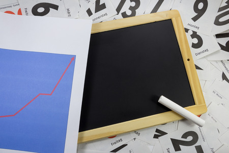 slate board: slate board with a chart Stock Photo