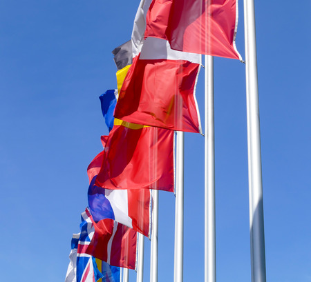 european flags: Many european flags are fluttering in the wind Stock Photo