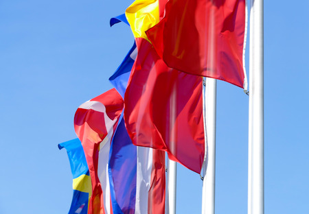 fluttering: Many european flags are fluttering in the wind Stock Photo