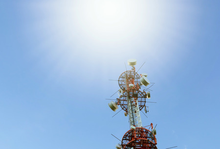 electromagnetic radiation: Radio tower in the sun at blue sky