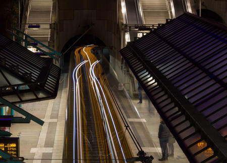 publicly: Subway with light stripes, Long Exposure