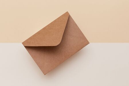 Brown envelope on the double colored background