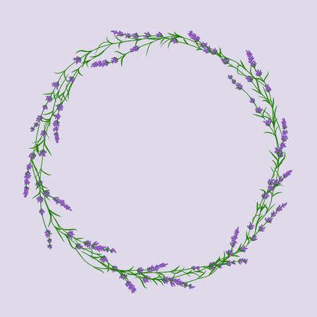 Lavender flower wreath vector ittustration. Postcard layout mockup