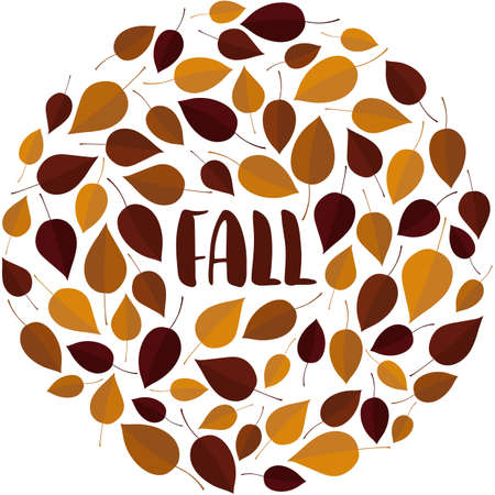 Fall hand drawn text surrounded with autumn leaves arranged into wreath. Postcard concept Ilustração