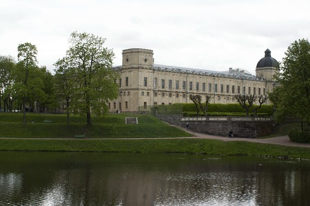 first day: Gatchina, Leningrad region, Russia - June 03, 2017: A fragment of the Gatchina Palace - residence of Russian emperors in the suburbs of St. Petersburg.