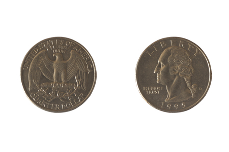 25 cents: Coin USA 25 cents with the image of George Washington and bald eagles. A quarter of a dollar. Copper plated copper-Nickel, 1995 Stock Photo