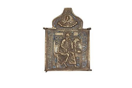 triptych: Fragment of the triptych of copper alloy on white. It is approximately the middle of the 19th century. Stock Photo