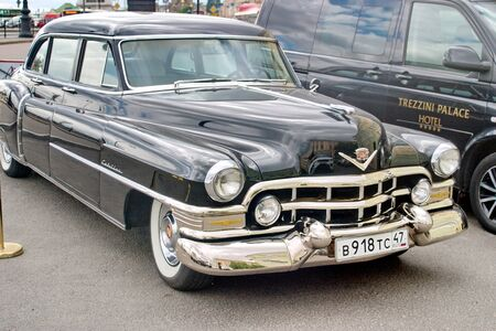 Saint Petersburg, Russia - July 07, 2017: The brilliant Cadillac 1949 Fleetwood is parked in the center of the city.