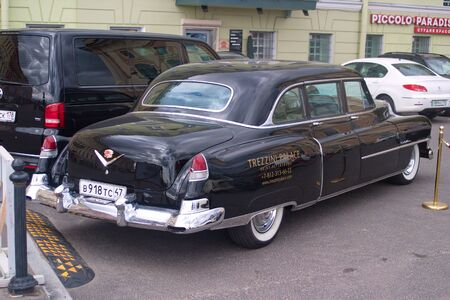 Saint Petersburg, Russia - July 07, 2017: The brilliant Cadillac 1949 Fleetwood is parked in the center of the city. Rear view-side.