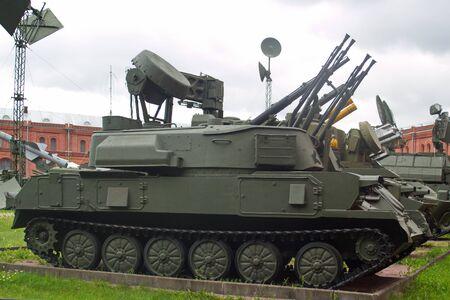 Saint Petersburg, Russia - July 07, 2017: Soviet 23-mm quadruple self-propelled anti-aircraft gun ZSU-23-4 Shilka. Museum of artillery, engineering and communications troops. Editorial