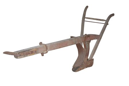 Image of wooden plow for plowing in harness isolated on white
